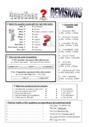English worksheet: Questions Revision.