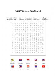English Worksheet: Yet an other asean nation Word Search