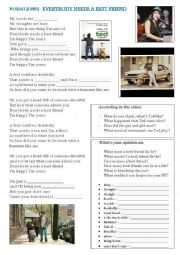 English Worksheet: NORAH JONES - Everybody needs  a best friend (soundtrack from Ted movie)