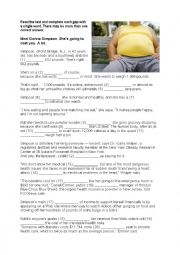 English Worksheet: A woman who wants to be fat: reading/UoE with answers and discussion questions