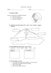 English Worksheet: Volcanoes, Layers of the Earth and Magnetism