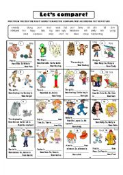 English Worksheet: COMPARATIVES WITH OPPOSITE ADJECTIVES
