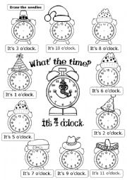 English Worksheet: WHAT�S THE TIME? It�s ... O�CLOCK,
