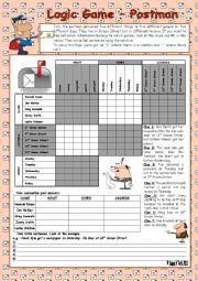 English Worksheet: Logic game (54th) - Postman *** with key *** fully editable *** BW