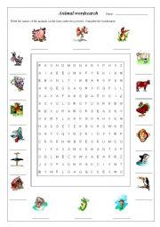 English Worksheet: Animal Wordsearch