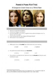 English Worksheet: Russia's Pussy Riot Trial: A Kangaroo Court Goes on a Witch Hunt