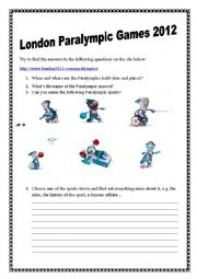 English Worksheet: London 2012 Paralympics