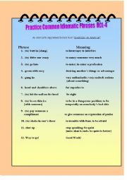 English Worksheet: Practice Common Idomatic Phrases RCL-4