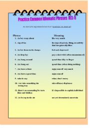 English Worksheet: Practice Common Idomatic Phrases RCL-5