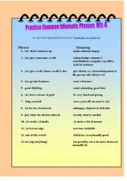 English Worksheet: Practice Common Idomatic Phrases RCL-6
