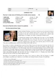 English Worksheet: test about Jk Rowling- the author of Harry Potter