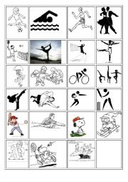 English Worksheet: Sports Flash cards7 memory card game
