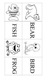 English Worksheet: Animals Memory Card Game