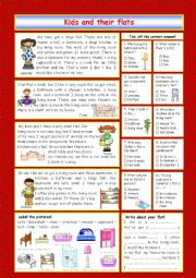 English Worksheet: Kids and their flats (key included)