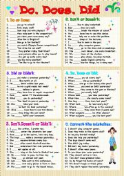 English Worksheet: Do,Does,Did