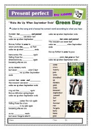 English Worksheet:  Present perfect by Wake Me Up When September Ends song