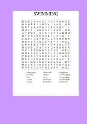 English Worksheet: SWIMMING