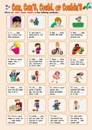 English Worksheet: Can, Can�t, Could or Couldn�t