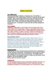 English Worksheet: English Festivities