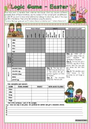 English Worksheet: Logic game (41st) - Easter *** for elementary ss *** with key *** fully editable *** B&W