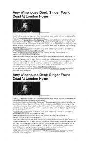 English Worksheet: Amy winehouse biography