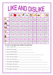 English Worksheet: LIKE AND DISLIKE ( about food)