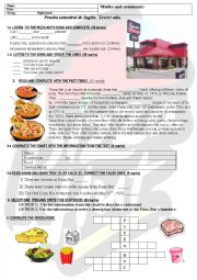 English Worksheet: test about food and past simple. pizza hut restaurant. fast food song. 5 skills tested