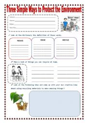 English Worksheet: REDUCE REUSE AND RECYCLE