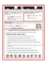 English Worksheet: Either....or  Neither...nor