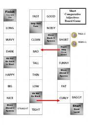English Worksheet: Short Comparative Adjectives Board Game