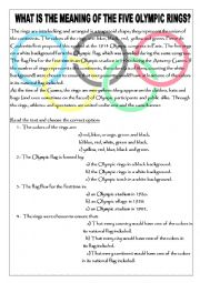 English Worksheet: What is the meaning of the Olympic rings?