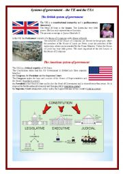 English Worksheet: Systems of Government  in the UK and in the USA