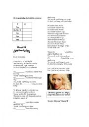 English Worksheet: Song Worksheet - Beautiful Christina Aguilera