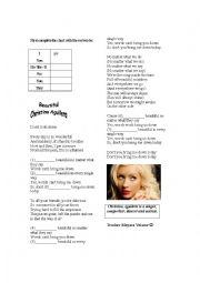 English Worksheet: Song Worksheet - Beautiful Christina Aguilera