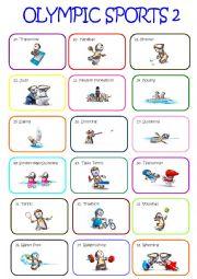 English Worksheet: Olympic Sports Pictionary