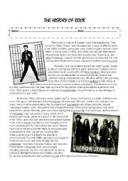 English Worksheet: The history of rock