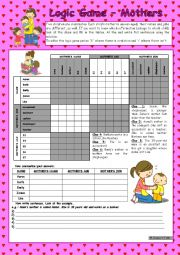 English Worksheet: Logic game (44th) - Mothers *** for elementary ss *** with key *** fully editable *** B&W