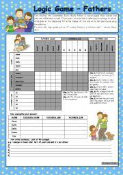 English Worksheet: Logic game (45th) - Fathers *** for elementary ss *** with key *** fully editable *** B&W
