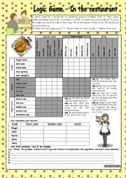 English Worksheet: Logic game (46th) - In the restaurant *** with key *** fully editable *** B&W