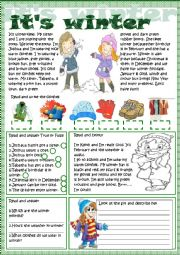 English Worksheets: it�s winter