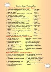 English Worksheet: Complex Object - Training Test