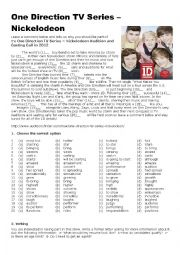 English Worksheets: One Direction TV Series Audition and Casting Call