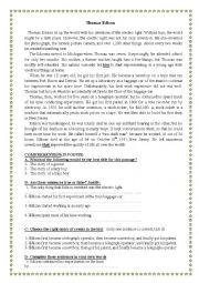 ESL Worksheets for adults: THOMAS EDISON