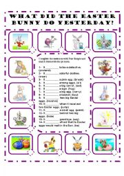 English Worksheet: WHAT DID THE EASTER BUNNY DO YESTERDAY? A PAST SIMPLE WORKSHEET - EDITABLE