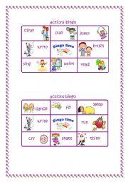 English Worksheet: Bingo time! Action verbs (1/2)