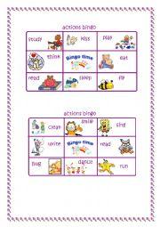 English Worksheet: Bingo time! Action verbs (2/2)