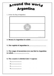English Worksheet: Around the world webquest 2 - Argentina