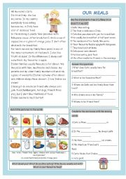 English Worksheet: Our Meals