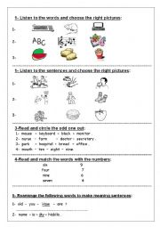 English Worksheets: Exercise for primary pupils