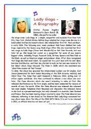 English Worksheets: Lady Gaga - A Biography